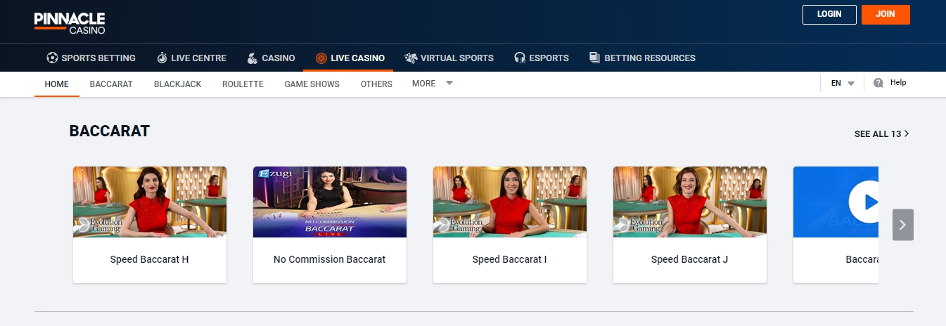 Pinnacle live games for casino lovers